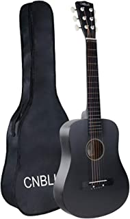 Kid Beginner Guitar Classical Guitar Acoustic Guitar 1/2 Half Size 30 inch Steel Strings (Black)
