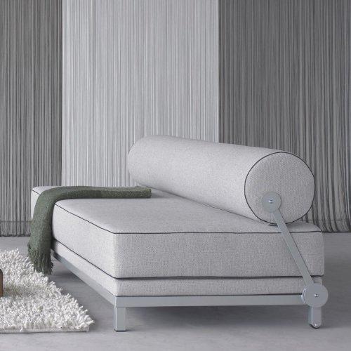 Sleep Day Bed/Schlafsofa, hellgrau Keder hellgrau Stoff Vision 445 LxBxH 204x90x73cm Gestell grau