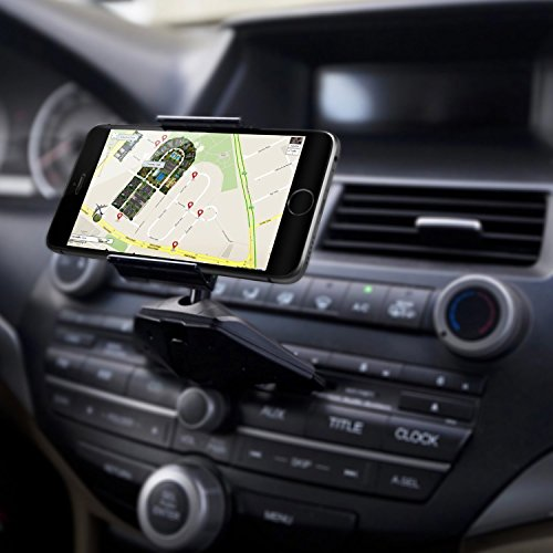 Soporte Móvil para Coche CD, QGECEN Soporte Teléfono Coche Universal 360 ° Rotación para iPhone X 7 Plus Samsung Galaxy S8 + Note 8 Moto LG Huawei Sony HTC