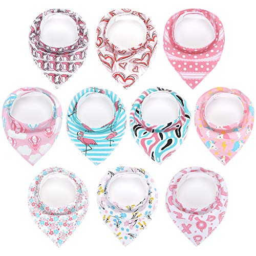 Baby Bandana Drool Bibs for Drooling Teething Feeding for 10 Pack