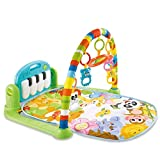 INiubi Large Baby Game Pad Music Pedal Piano Music Fitness Rack Crawling Mat 2 in 1 Infant Game Carpet Crawling Mat Educational Toys for Baby (Green)