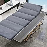 ABORON Camping Cots Adults, Folding Cots Portable, Heavy Duty Sleeping Cots, W/Mattress & Carrying Bag