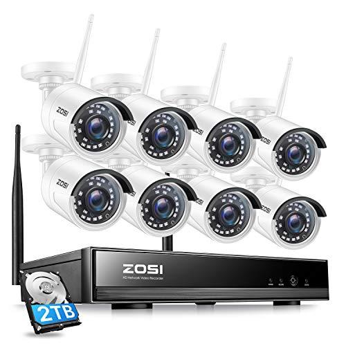 ZOSI 1080P Kit de Cámara de Vigilancia WiFi Inalámbrico 8CH H.265+ Grabador NVR con (8) 2,0MP Cámara de Seguridad IP Exterior, 2TB Disco Duro, Visión Nocturna, Alarma de Movimiento, P2P