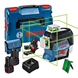 Bosch Professional 12V System Laser Level GLL 3-80 CG (2x battery 12V, charger, green laser, w/app function, mount, working range: up to 30m, in L-BOXX) - Amazon Exclusive