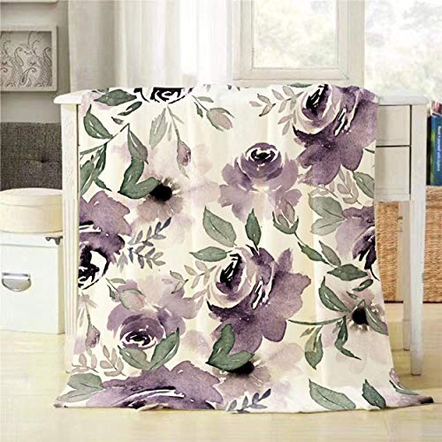 Mugod Floral Throw Blanket Vintage Watercolor Purple Flowers Seamless Pattern Decorative Soft Warm Cozy Flannel Plush Throws Blankets for Baby Toddler Dog Cat 30 X 40 Inch