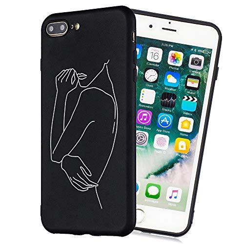 HopMore Negro Funda para iPhone 7 Plus/iPhone 8 Plus Silicona Antigolpes Dibujos Espacio Universo Creativo Carcasa Gracioso TPU Resistente Ultrafina Cover Protección - Dibujo A