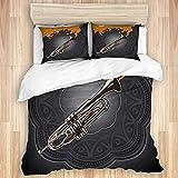 Juego de funda nórdica de 3 piezas, fondo conceptual artístico con trompeta, juegos de fundas de edredón de microfibra de lujo para dormitorio, colcha con cremallera con 2 fundas de almohada