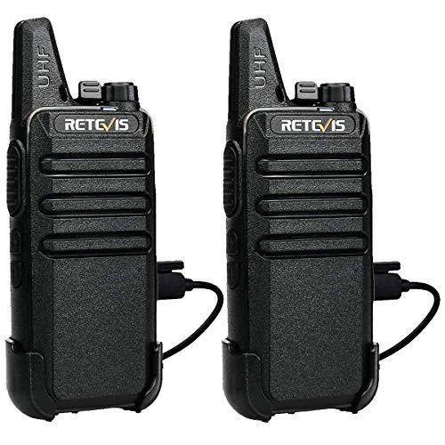 Retevis RT622 Walkie Talkie, Walkies Talkies Profesionales PMR446 VOX 16 Canales Equipos Transmisores-Receptores CTCSS/DCS Walki Talki Recargable con Cable USB (1Par, Negro)