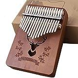 LHR 17 Keys Kalimba, Carimba Portable Mbira Pocket Thumb Piano en Bois Massif Brun Fauve avec Boîte en Papier Adapté Aux Enfants Adultes Débutant Divertissement