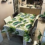 Mantel Impermeable de Hoja Tropical, Mantel Rectangular para Restaurante en casa, Mantel para Camino de Mesa de Centro M-2 140x160cm