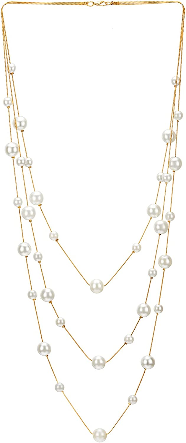 Gold White Statement Necklace Two-Strand Long Chains with Synthetic Pearl Beads, Elegant, Dress