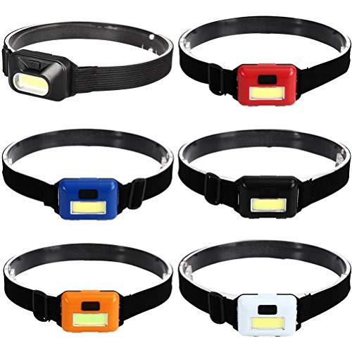 6 unids linterna linterna COB Super brillante LED faro ultra ligero diadema para corredores camping senderismo trabajo faro