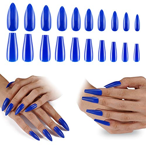 Press On Nails Long Length, 200PCS Cosics Solid Navy Blue Full Cover False Nails with Designs, 2IN1 Colored Acrylic Nails Coffin Ballerina Shape & Stiletto Almond Nails with Box, Glossy Fake Nails