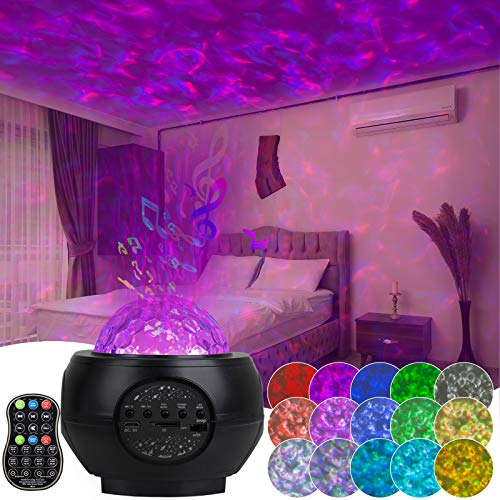 Star Projector Night Lights, 3 in 1 Galaxy Projector Ocean Wave Projector with Bluetooth Music Speaker Sky Nebula Cloud Rotating LED for Kids Adults Bedroom Decoration with Remote Control
