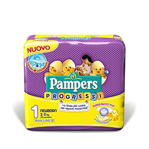 Pampers Progressi Windeln für Neugeborene, Größe 1(2–5kg), 28Windeln
