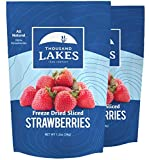 Thousand Lakes Freeze Dried Fruits and Vegetables - Strawberries 2-pack 1.2 ounces (2.4 ounces total) | No Sugar Added | 100% Sliced Strawberries
