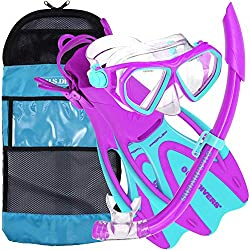 US. Divers Dorado Mask, Proflex Fins, and Sea Breeze Snorkel Combo Set
