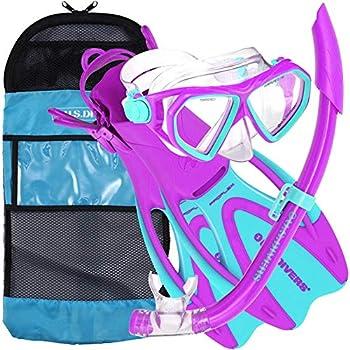 U.S Divers Junior Kids Dorado Mask Proflex Fins & Sea Breeze Snorkel Set with Carry Travel Bag Fun Purple