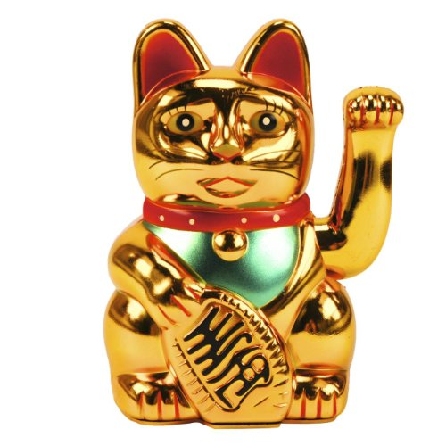 Maneki Neko Winkekatze, 13 cm, gold