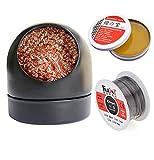 Soldering Iron Tip Cleaner + 60/40 Solder Wire Reel Fine 0.6mm Tin Lead Rosin Core (1.76oz/50g) + Soldering Rosin Flux Paste Gel (0.35oz/10g)for Electronics Metalworking Welding (Black)