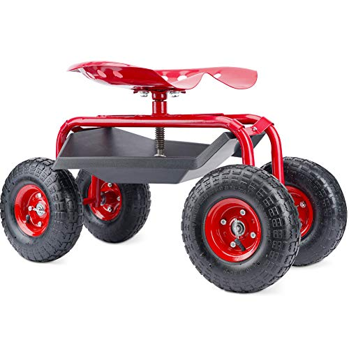 G GOOD GAIN Garden Cart with Seat and Wheels Rolling Garden Stool. 4-Wheel Garden Cart Rolling Work Seat Outdoor Lawn Yard Patio Wagon Scooter for Planting, Adjustable 360 Degree Swivel Seat. Red…