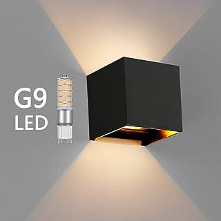OOWOLF Lampara De Pared, Aplique De Pared Exterior Impermeable IP65 Con Luz Blanco Cálido 3000K LED Bombillas Reemplazables Para Interior Exterior Apliques Con Bombilla