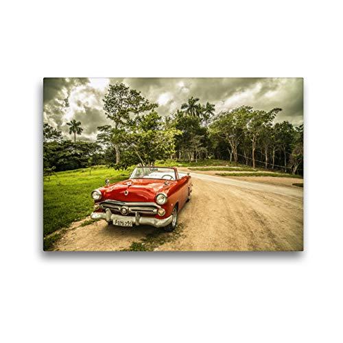 CALVENDO Premium Textil-Leinwand 45 x 30 cm Quer-Format Retro Auto - Cuba, Leinwanddruck von Gerd Matschek