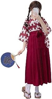 Womens Girls Hakama Kimono Set Japanese Traditional Koi Fish Arrow Feather Pattern Samurai Kimono Costume