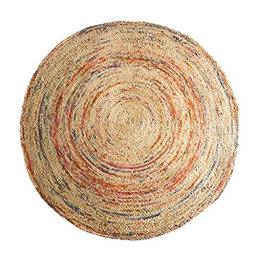 Wohnzimmer Fußmatte Dekoration, Badematten Indien importiert Jute runden Teppich handgewebten marokkanischen Ethno-Stil weiches Kleid mit Couchtisch Schlafzimmer Nacht runden Teppich kurzen Haufe