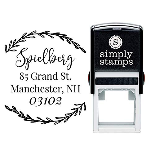 Custom Monogram Address Stamp Laurel Wreath Border | Custom Return Address Stamp | Self-Inking Stamp | Personalized Address Stamps |