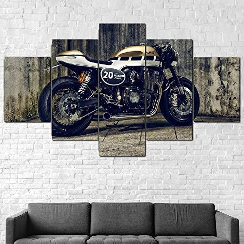 GSDFSD Juego de 5 Cuadros para el Dormitorio Sala de Estar Baño Bicicleta XJR1300 Lienzos Decorativos,Sin Marco 40x100cmx1pcs, 40x80cmx2pcs,40x60cmx2pcs