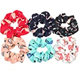 Plushfarm Accesorios para el Cabello Corbatas Scrunchies Navidad Headwear Set Chiffon Mujeres Chicas Strips Forme Leopardo Sólido Floral Satin 6pcs / Pack (Color : PJ056 6PCS)