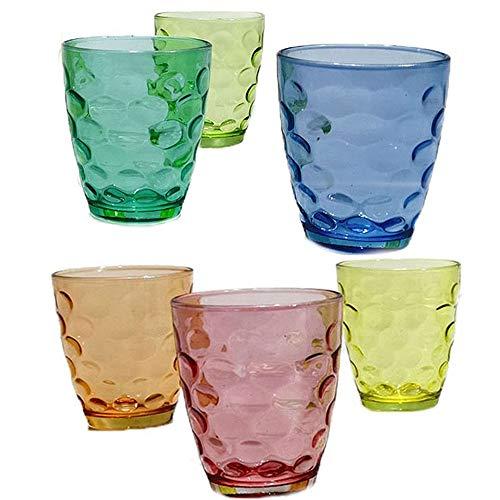 Bicchieri in Vetro Set Colorati per la tavola Arcobaleno Decorazione Cucina casa ristoranti Bar Pub cl 42 Unico Acqua o Vino Idea Regalo-6 Pezzi