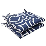 Pillow Perfect Outdoor/Indoor Carmody Navy Square Corner Seat Cushions, 18.5 in. L X 16 in. W X 3 in. D, 2 Count