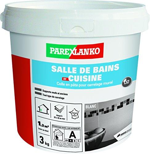Parexlanko, Salle de bains et cuisine, Colle carrelage en pâte pour mur intérieur spécial pièces humides, 3kg