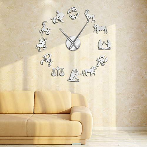 KKLLHSH Reloj de Pared de Pegatina - Sin Marco DIY Pared Reloj con Adhesivo 3D Animal Tamaño Grande Mute DIY Reloj de Pared para Decorar La Oficina o Casa-47 Inch
