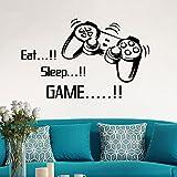 mlpnko Eat Sleep Game Letters Gaming Gamer Wandtattoo Wandaufkleber Vinyl Wandtapete für Kinder Jungen Raumdekoration-53x86cm