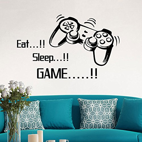 mlpnko Nuevo Eat Sleep Gaming Gamer Wall DecalGame Wall Decal Gaming Joystick Playing Funny Sticker Wall Decal-53x86cm