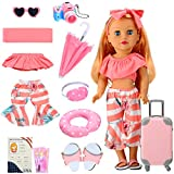 Skylety 11 Pieces Doll Travel Play Set Doll Clothes and Accessories Including Doll Travel Carrier Sunglasses Camera Sunshade Travel Pillow Blindfold Passport Plane Ticket for 18 Inch Doll