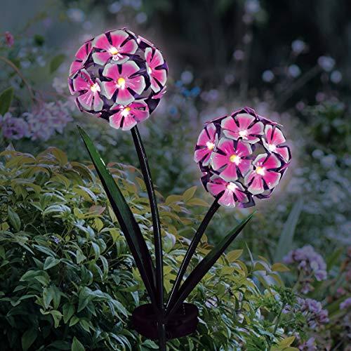 Exhart Solar Hydrangea Garden Stake  Pink Hydrangea Balls w/...
