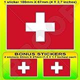 SCHWEIZ Schweizerische Flagge, Fahne Suisse 100mm Auto & Motorrad Aufkleber, Vinyl Sticker x1+2 BONUS