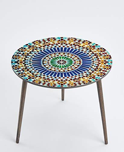 Queence Mesa auxiliar redonda de diseño, mesa auxiliar, mesa de café, mesa de noche, mesa de salón, mesa de teléfono, tamaño: 50 cm de diámetro, color: azul/oro/estampado