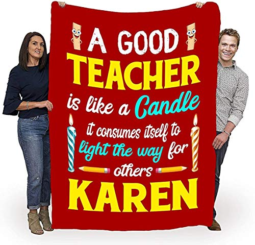 A Good Teacher is Like A Candle, Customized Blanket Gift for Teacher with Names, Thank You Gifts, Birthday Gifts, Teachers Day Customized Fleece Blanket