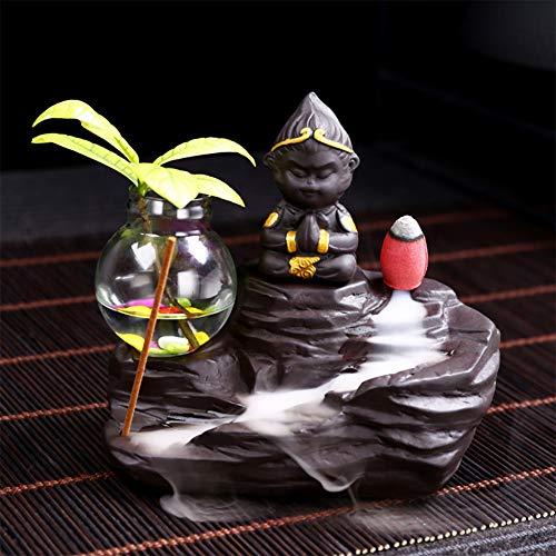 KKJJ Zen - Bruciatore Si Incenso a Riflusso Sabbia Viola Mestieri, Creativo Sun Wukong Ceramica Incenso Riflusso, Portaincenso a Cascata Composizione Floreale Decorazione,B