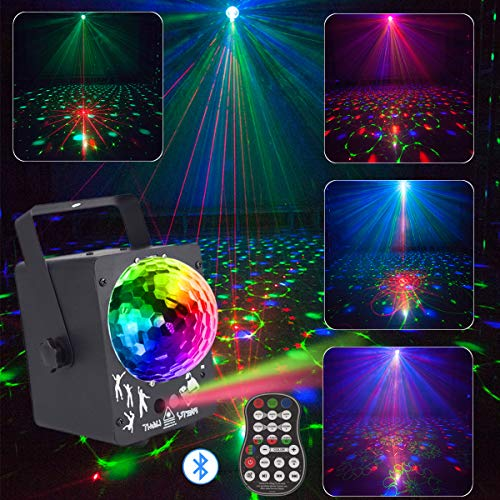 DJ Laser Lights Projector Red Green Blue Colorful 60 Patterns with RGB Galaxy LED Ripple Wave Lighting System for Party DJ Stage Disco Music Show Bar Club Xmas