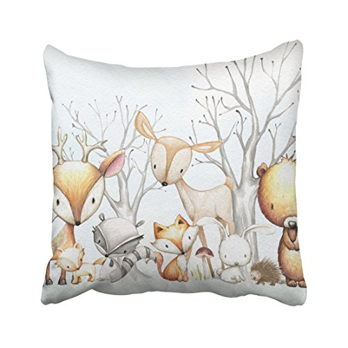 Accrocn Cute Woodland Watercolor Animal Baby Kid Nursery Polyester 18 x 18 Inch Square Throw Pillow Covers With Hidden Zipper Home Sofa Cushion Decorative Pillowcases