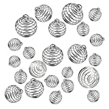 JIALEEY Spiral Bead Cages Pendants, 30 PCs 3 Sizes Silver Plated Stone Holder Necklace Cage Pendants Findings for Jewelry Making and Crafting
