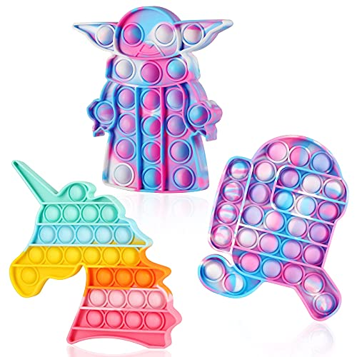 Pop Unicorn Fidget Toys,3 Pack Push Bubble Pop,Tie-dye Fidget Toys, Sensory Pop Fidget Toy for Kids Adults. Silicone Stress Relief Toy (3 Pack)