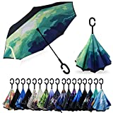 YOKITOMO 長傘 逆さ傘 丈夫 撥水 内外2枚の布の構成で耐風とUVカット効果更にアップ!閉じると自立可能晴雨兼用傘 (森の絵)人気ギフト