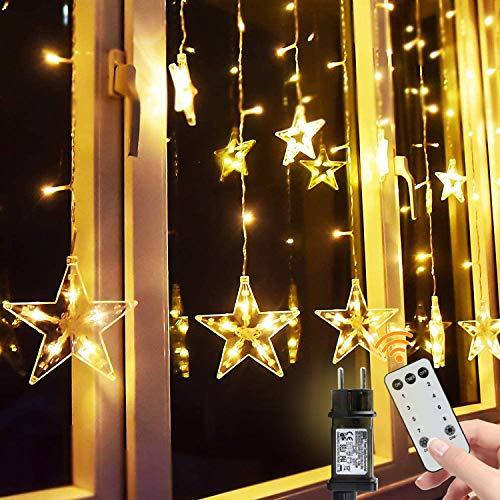 BlissTrip Guirnaldas Luminosas Estrellas Cortina Luces, Led Telones de Hogar, Usado para Cadena Luces de Navidad para el Balcón, Ventana, Pared, Escaparate, Boda, Fiesta